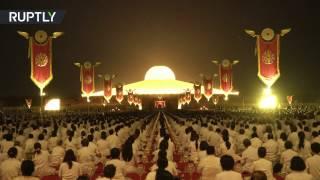 Epic style celebrations  Buddhists mark the full moon festival at Wat Phra Dhammakaya