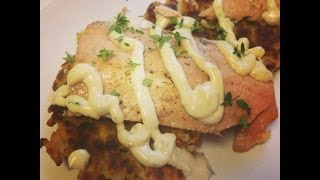 Dollar Tree Gourmet - Salmon With Potato Pancake And Garlic Lemon Aioli