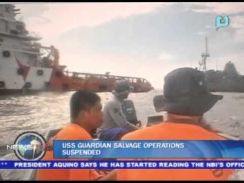 USS Guardian salvage operations suspended