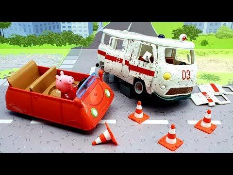 Мультики для детей с игрушками свинка Пеппа новые серии - Вправо влево! Видео про Скорую помощь Джип