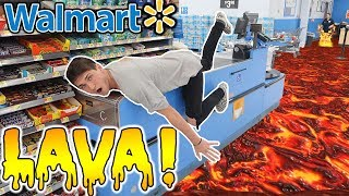 FLOOR IS LAVA CHALLENGE AT WALMART! (KICKED OUT!)
