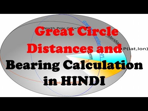 Great Circle Distances and Bearing Calculation in HINDI