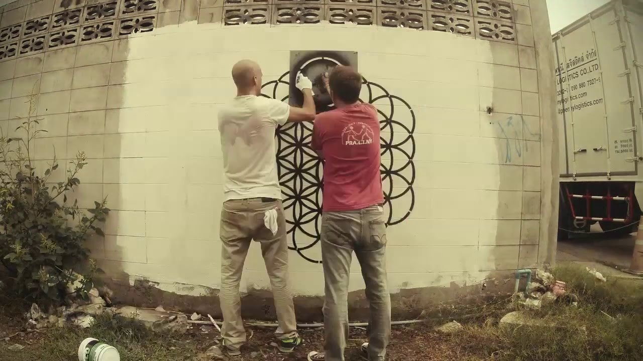 Composite Image Of Stencil Graffiti >> Flower Of Life Street Art Graffiti Stencil Timelapse Youtube