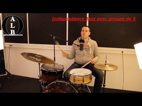 Cours de Batterie / Drums Lesson : Indépendance jazz avec Groupe de 5
