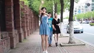 Chinese girl love dance | little apple dance at public | so hot 2018