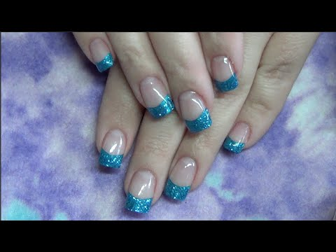 Gel Nails With Blue Tips Full Tutorial