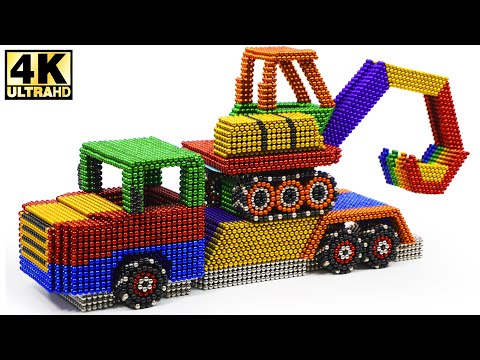 DIY - How To Make Excavator Transport With Magnetic Balls (Satisfying) | Magnetic Man 4K