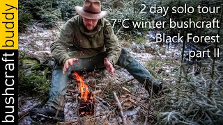 Solo Winter Bushcraft - 2 days in the Black Forest, Canvas Lavvu | part II