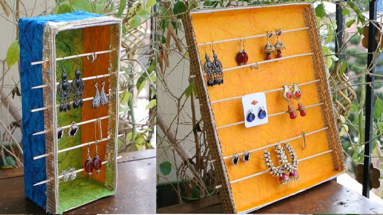 Diy Best Out Of Waste Earring Holder Jewelry Organizer