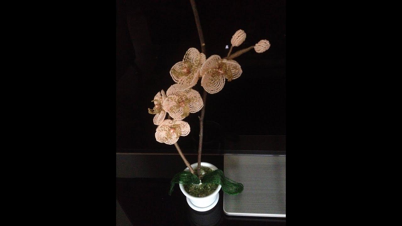 заколки в форме цветка из бисера схема