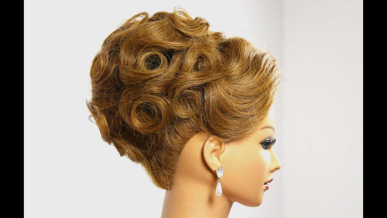 Bridal  updo  Wedding  hairstyle  for medium hair  tutorial