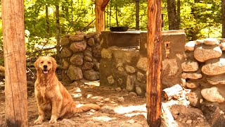 Off Grid Log Cabin in the Forest with my Golden Retriever Cali