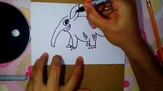 como dibujar un oso hormiguero- how to draw anteater