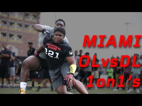 Miami OL Vs DL 1 On 1 's | 2015 Nike Football The Opening Regionals