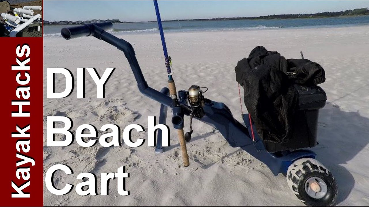Diy beach fishing cart for surf or pier with rod holders for Beach fishing rod holder