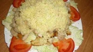 Салат цезарь с курицей (Caesar salad) .