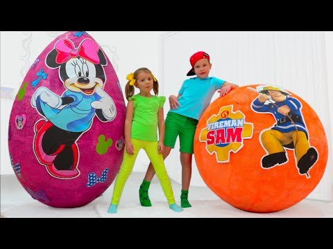Minnie Mouse VS Fireman Sam Giant Surprise Toy Egg