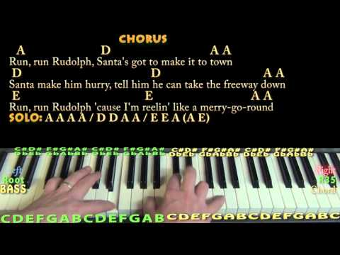 Run, Run, Rudolph (CHRISTMAS) Piano Cover Lesson in A with Chords/Lyrics