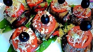 Блюда из баклажан.Рулетики из баклажан. Закуска из овощей и мяса. Красивое оформление.