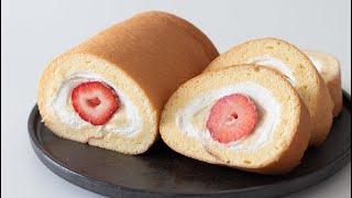 いちごとカスタードのよくばりロールケーキ作ってみた!Strawberry & Custard Swiss Roll Cake|HidaMari Cooking