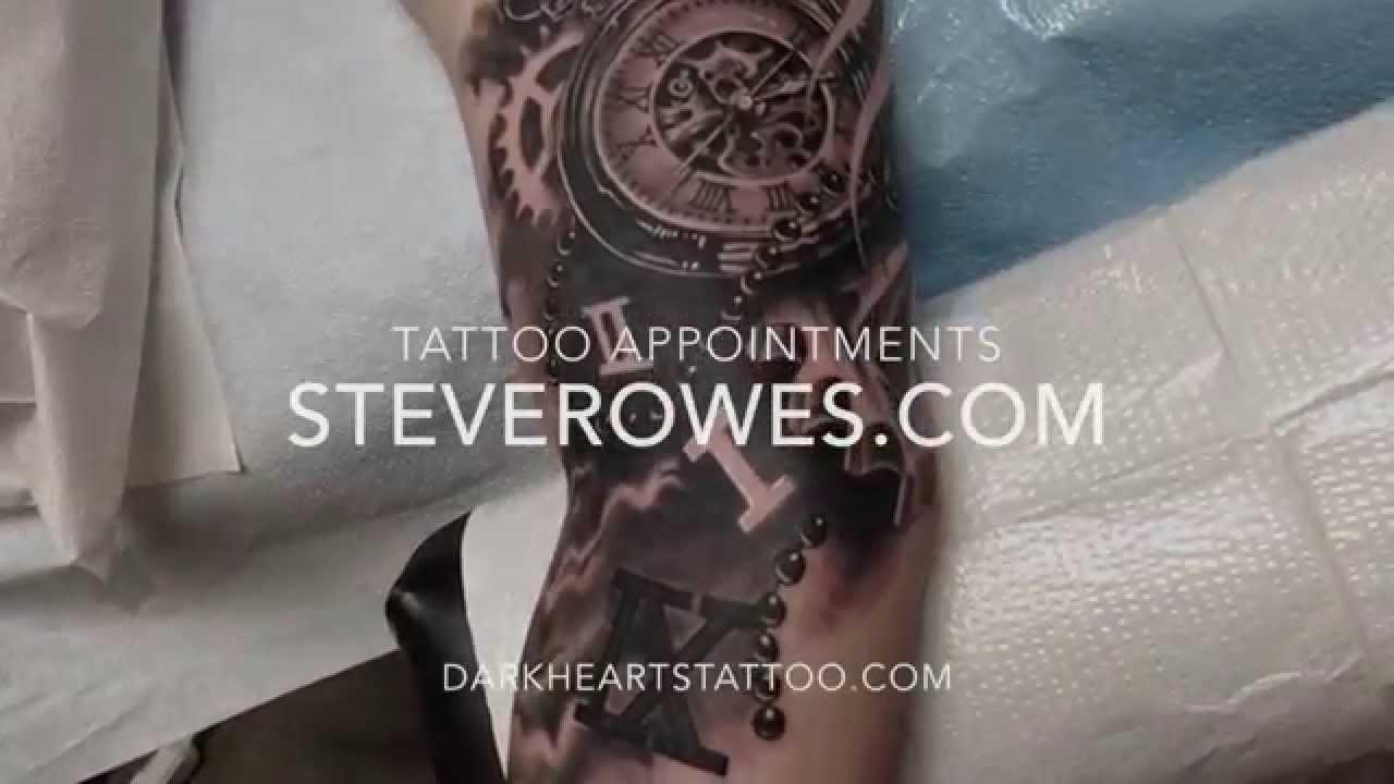 Steve Rowes Black N Grey Clock Tattoo Youtube