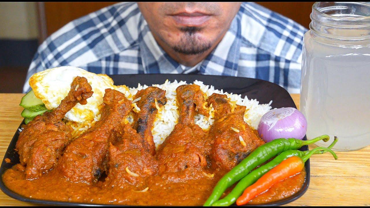 ASMR : Eating Chicken Leg Gravy, Egg, Long Rice, Onion, Chilli - Mukbang Eating Show - BasAsmr