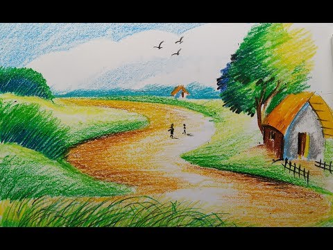 how to draw landscape with oil pastels, beautiful drawings with oil pastels,