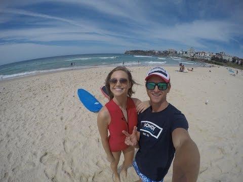Surfing Lesson and talking Celebs at Bondi with Ksenija Lukich