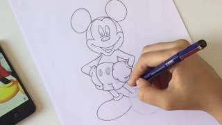 How to draw Mickey mouse easy (For beginners)