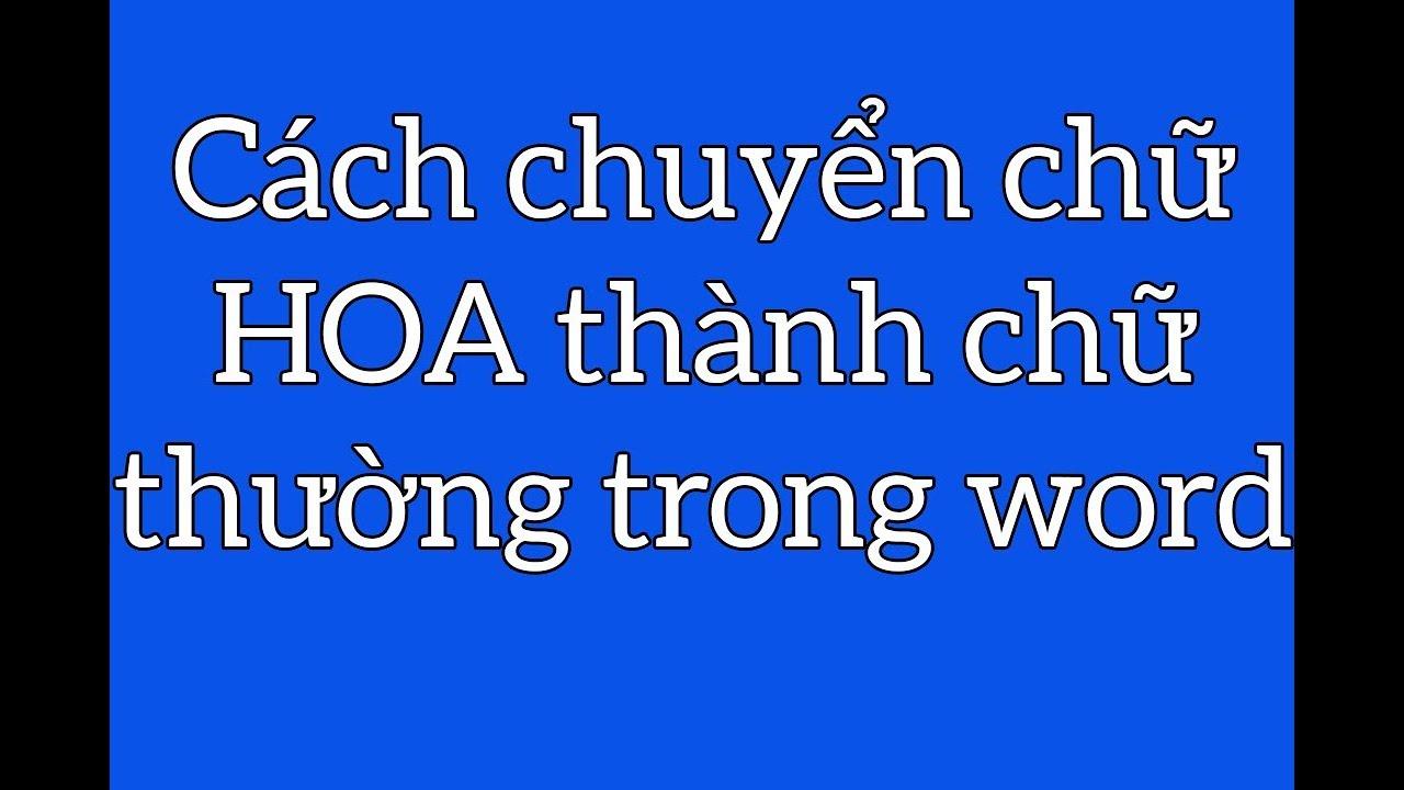 Cách chuyển chữ HOA thành chữ thường trong Word