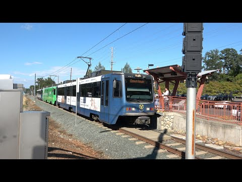 Sacramento SACRT Light Rail Gold Line Trains At Iron Point Station, Folsom California