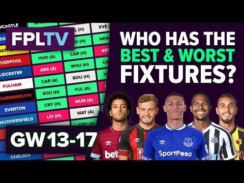 Who Has The Best Fixtures?   Gameweek 13-17   FPL FIXTURE WATCH   Fantasy Premier League