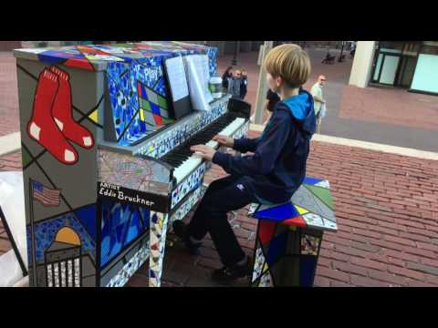 Kid Plays Journey Don't Stop Believin' on Eddie Bruckner's Play Me, I'm Yours Boston Street Piano