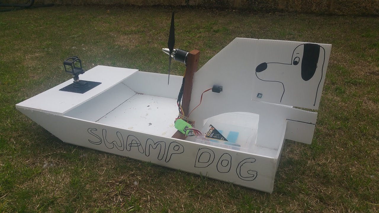 Swamp Dog RC Air Boat on Lake Scratch Built *Upgraded - YouTube