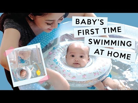 BABY XABIRU'S FIRST TIME SWIMMING AT HOME