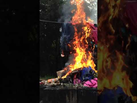 Burning Big Pile of Blue Jeans with 5 Quarts of Oil thumbnail