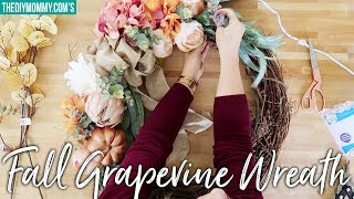DIY FALL GRAPEVINE WREATH in Pink and Copper
