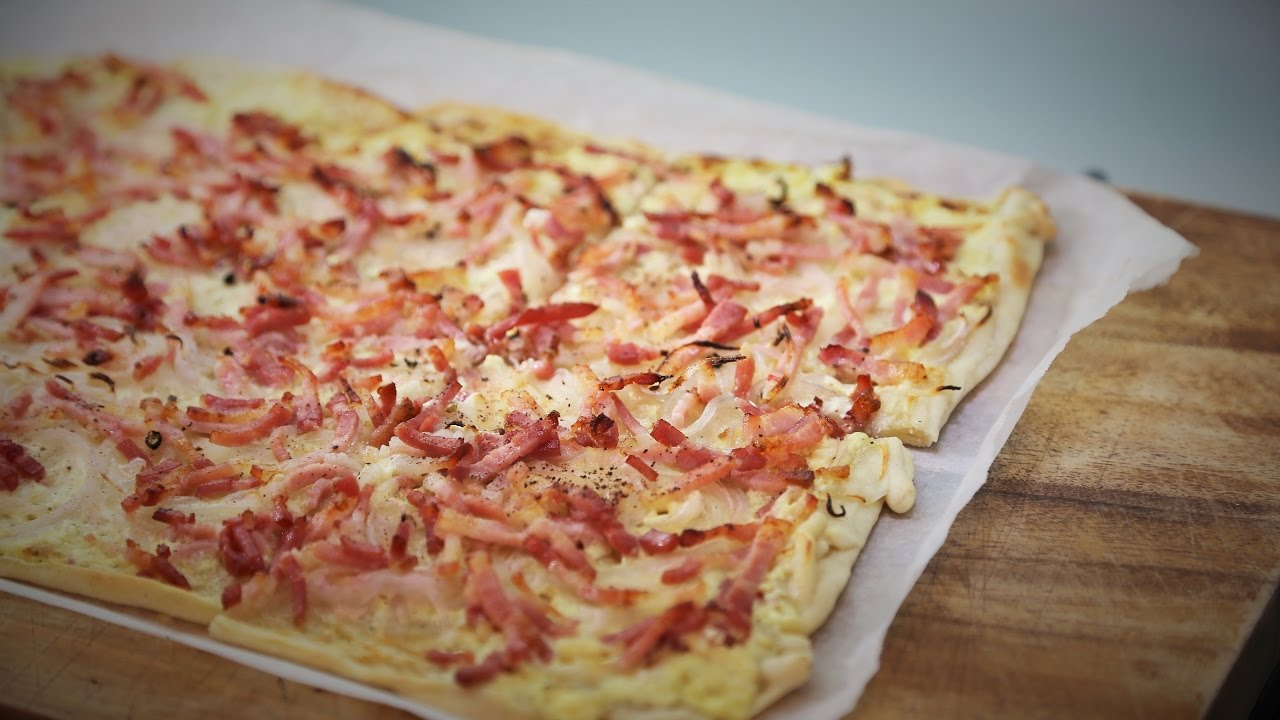 Tarte Flambée - The Cream, Bacon and onion Alsatian pizza ...
