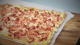 how to make Tarte Flambee  (flammekueche recipe) - Cream, Bacon and onion Tart - German Pizza