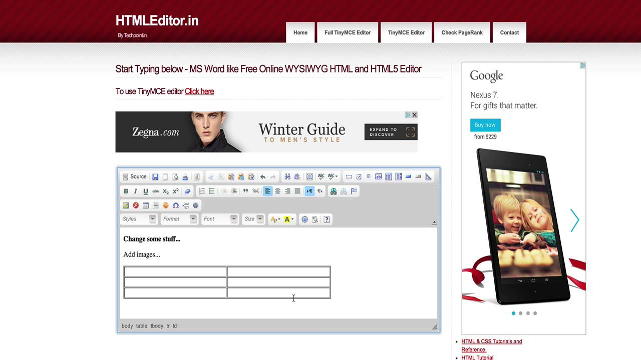 Free Browser Based WYSIWYG HTML Editor For Marketers