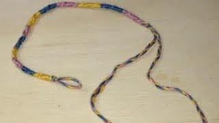 ミサンガ 編み方 片方輪っかの結び方 How to make a Knot of friendship bracelets that one is in the Hoop. thumbnail