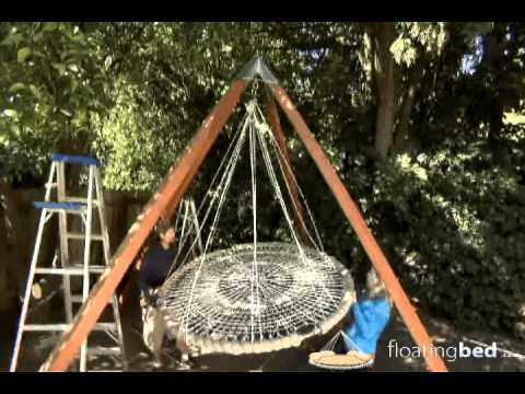 Yard crashers tv floating bed youtube for Round hanging daybed