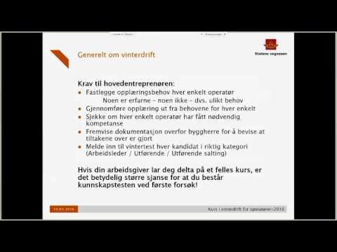 Statens vegvesen - Kurs Vinterdrift 2016 - Kapittel 1 Generelt