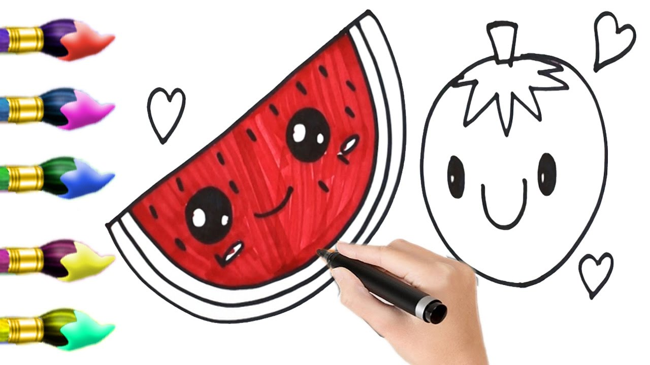 how to draw pieces of watermelon and orange coloring pages for