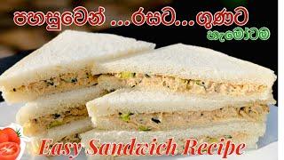 රසවත පෂණය චකන සනඩවච පහසවන ඉකමනන හදම Easy and Tasty Chicken Sandwich recipe
