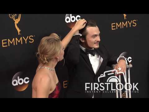 Rupert Friend, Aimee Mullins arriving at the 2016 EMMY Awards