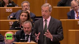 'You are not laughing now, are you?' Nigel Farage at European Parliament (FULL SPEECH)