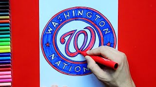 How to draw and color the Washington Nationals Logo - MLB Team Series