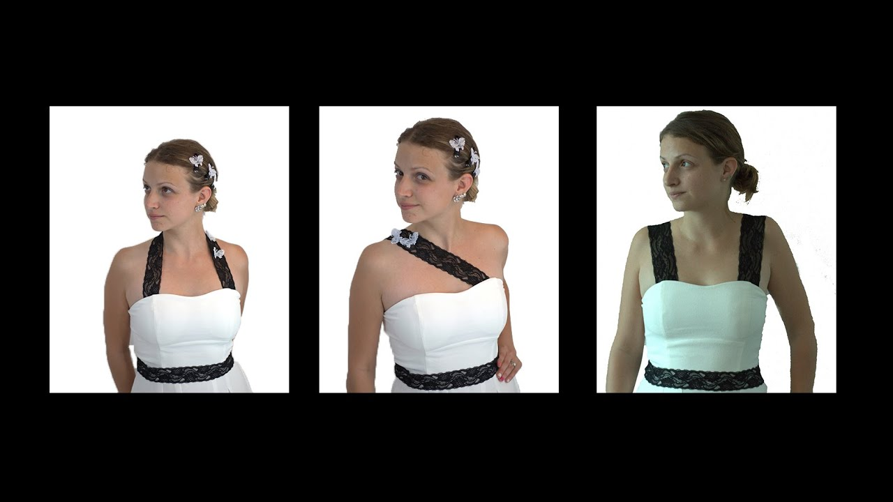 3 DIY Designs for Adding Straps To A Strapless Dress - YouTube