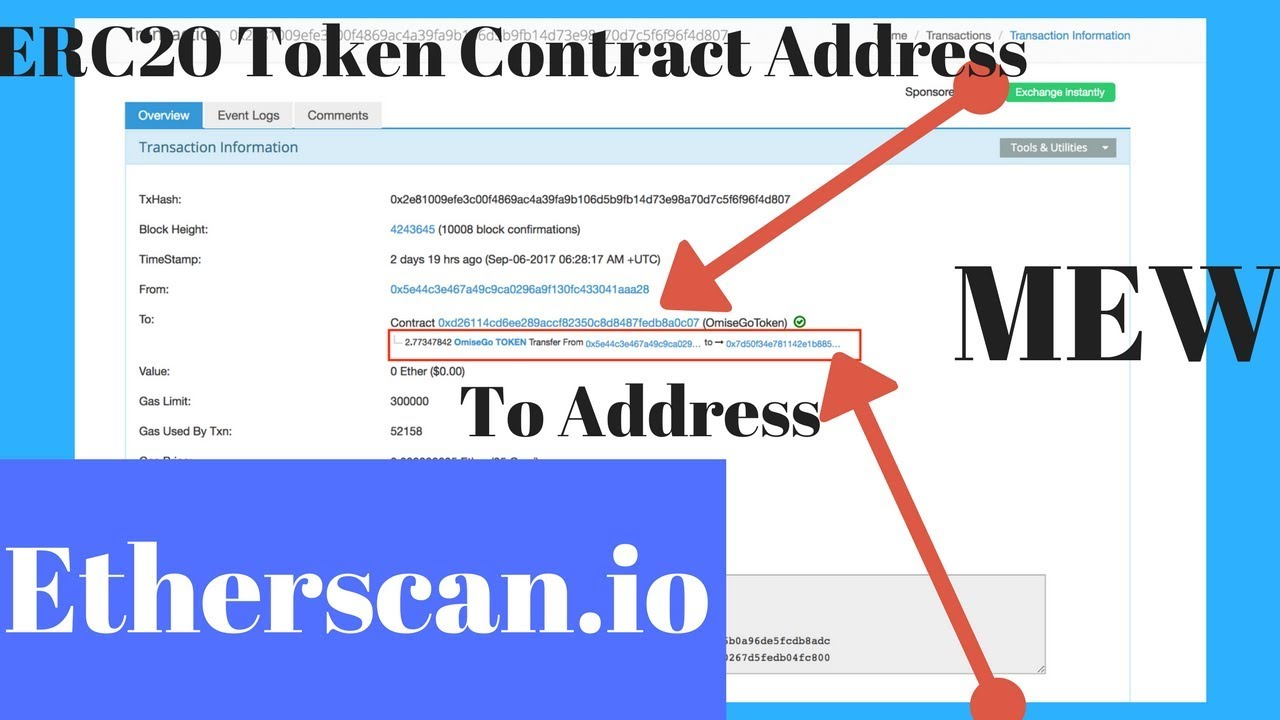 Sending Custom ERC20 Tokens To Exchanges/Friends - How To Check Etherscan  Address